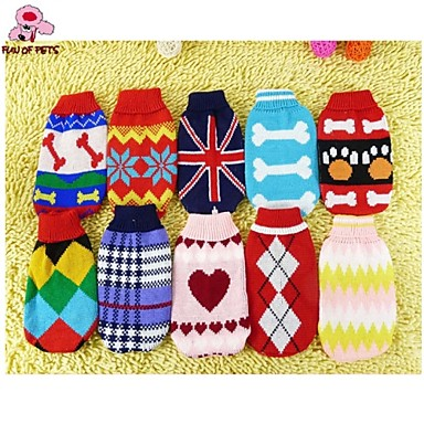 Buy Dog / Cat Sweater Red White Blue Pink Winter Plaid/Check Stripe Wedding Cosplay