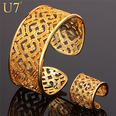 Buy U7® Women's Heart Bangle 18K Gold Plated Jewelry Set Cubic Zirconia Romantic Anniversary Gift Cuff Bracelet Ring