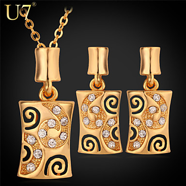 Buy U7® Women's 18K Gold Plated Jewelry Set Clear Rhinestone Platinum Pendant Necklace Earrings