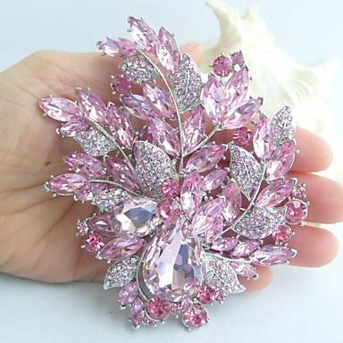 4.33 Inch Silver-tone Pink Rhinestone Crystal Flower Brooch Art Deco Brooch B...