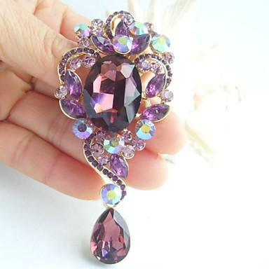 3.35 Inch Gold-tone Purple Rhinestone Crystal Drop Flower Brooch Pendant Art ...