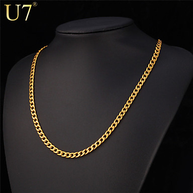 Buy U7® Men's Stainless Steel Jewelry 18'' Gold Necklace 18K Real Plated Simple Style Hip Hop Chain