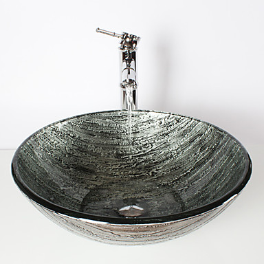 Ancient Silver Round Tempered Glass Vessel Sink with Bamboo Faucet ...