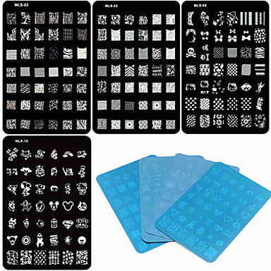 Buy 4 Mixed Design Nail Art Stamping/Stamper Image Template Plate Stencils/Molds Acrylic Tips MLS Series