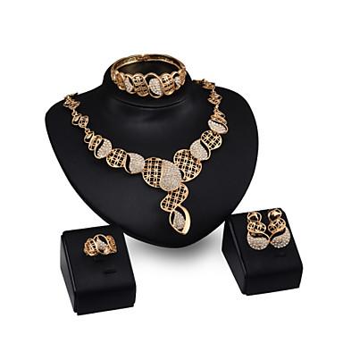 Buy Women's Vintage 18K Gold Plated Zirconia Cut Flower Necklace & Earrings Bracelet Ring Jewelry Set