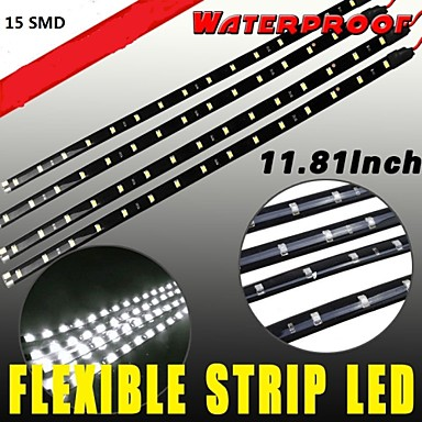 Buy 4x Waterproof 15LED 30cm Car Lighting Flexible Decorative Light Lamp Strip White