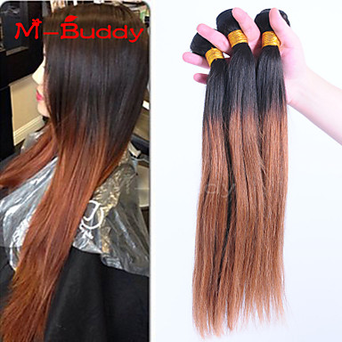 Buy 8 inch-30 inch Brazilian Virgin Hair Color 1B30 Straight Ombre Human hair Weaves