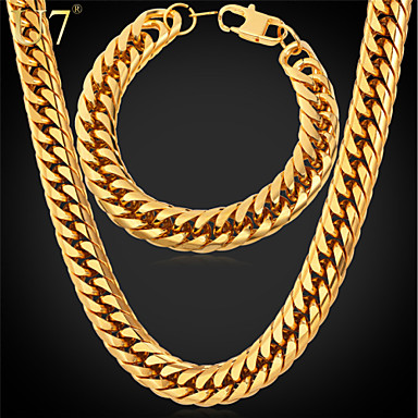 Buy U7® Men's Long Hip Hop Gold Chain Stainless Steel Jewelry Plated Thick Bracelet Set