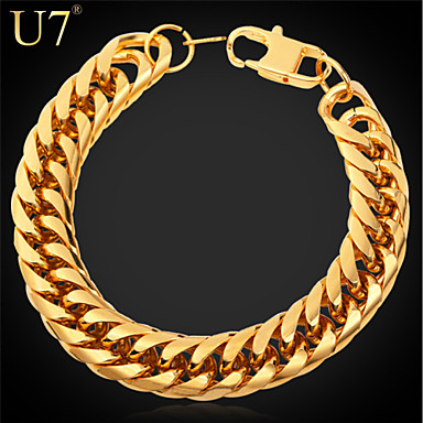 Buy U7® Men's Stainless Steel Jewelry 2015 New Fashion 18K Real Gold Plated Thick Chain Bracelet