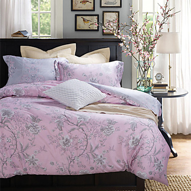 gray flower pattern light pink cotton bedding set 4 piece 4514999 2016. Black Bedroom Furniture Sets. Home Design Ideas