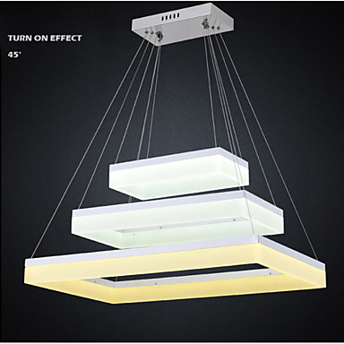 LED Pendant Light With 3 Ring Rectangle Acrylic Lamp