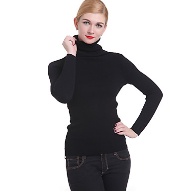 Women's Casual/Daily Simple Pullover,Solid Turtleneck Long Sleeve Spring Fall