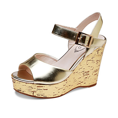 s shoes patent leather wedge heel peep toe sandals