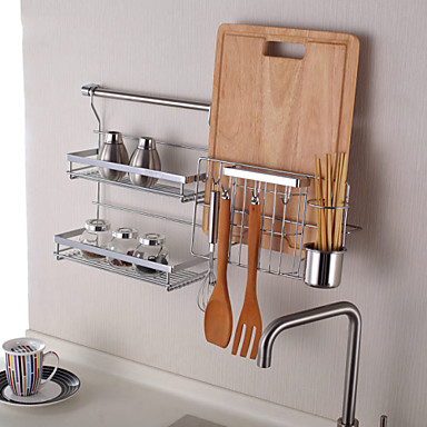 Chuyuwuxian kitchen utensil organiser hanger tool spice rack wall mounted chrome finished steel - Wall mounted spice racks for kitchen ...
