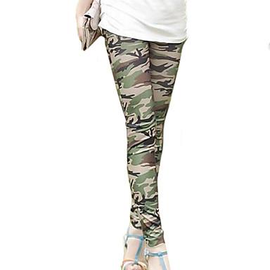 Women's Green Skinny Slim Elastic Printing Leggings