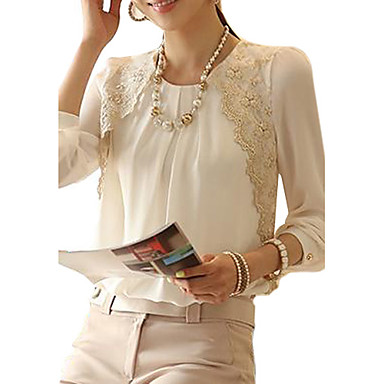Women's Formal / Work Vintage Spring / Summer / Fall / Winter Blouse,Solid Crew Neck Long Sleeve White Others Thin