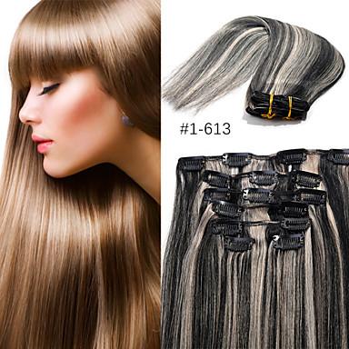 Buy EVET Brazilian Human Hair Clip Weft Unprocessed Virgin Extension 70G/Lot