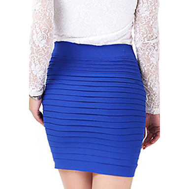 Women's Solid Blue/Purple/Dark Pink Skirt,Bodycon Mini Gathered