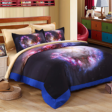 Buy 3D galaxy Bedding Sets Floral Print Duvet Covet Set