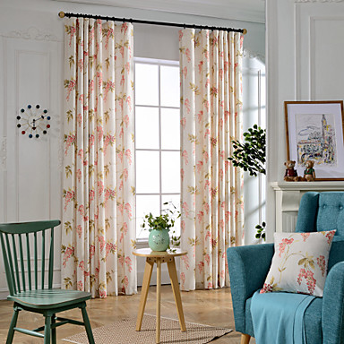 country botanical bedroom linen polyester blend blackout curtains