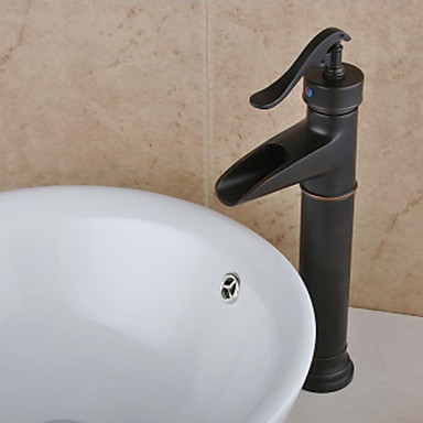 Antique Style Oil Rubbed Bronze Finish Waterfall Brass Bathroom Sink Faucet 3974899 2016