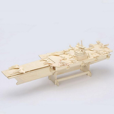 Buy Jigsaw Puzzles 3D / Wooden Building Blocks DIY Toys Aircraft Carrier Wood Beige Model & Toy