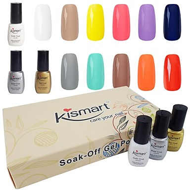 Buy Kismart Soak LED UV Nail Gel Polish Gift Kit 6.5ml 60 Colors Choose 6 Color 1 Base &1 Top Coat Set
