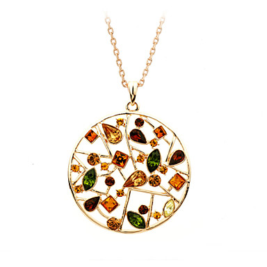 Buy HKTC Valentine's 18K Rose Gold Plated Colourful Crystal Flowers Hollow Round Pendant Necklaces Vintage Jewelry