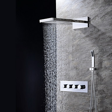 Buy Contemporary Wall Mounted Waterfall Rain Shower Handshower Included Ceramic Valve Four Handles Three Holes Chrome ,