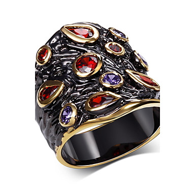 Buy Statement Rings AAA Cubic Zirconia Fashion Luxury Zircon Copper Gold Plated Gold/Black Jewelry ForWedding Party Halloween
