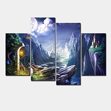 Moderne toile quatre panneaux pr t accrocher format for Donde venden cuadros baratos