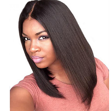 summer long bob wig middle part lace front wig human hair