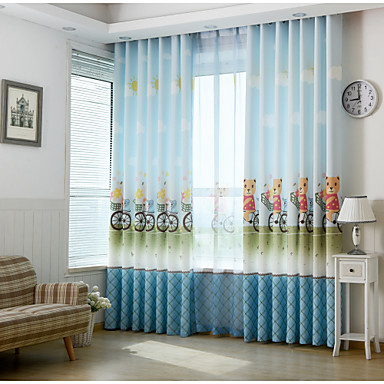 Two panels print kids room darkening curtains 4956255 2016 for Kids room darkening curtains