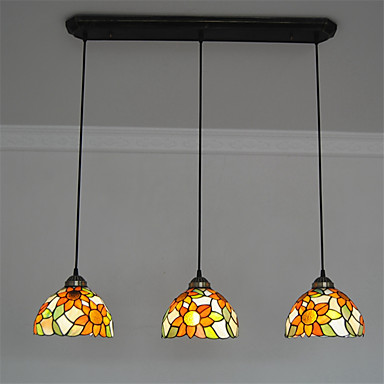 8inch 3 lights retro tiffany pendant lights glass shade living room dining ro. Black Bedroom Furniture Sets. Home Design Ideas