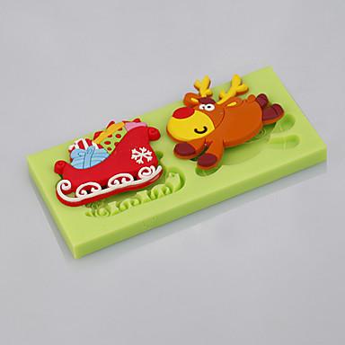 Edible Reindeer Cake Decoration : Cake Tools Christmas Reindeer Sleigh Fondant Silicone Mold ...