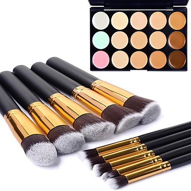 10pcs professional gold tube black handle cosmetic makeup