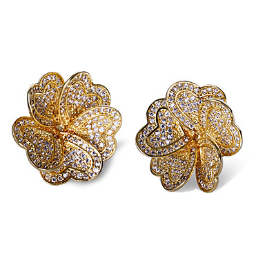 Buy Earring AAA Cubic Zirconia Flower Stud Earrings Jewelry Women Fashion Wedding / Party Daily Casual N/A 1 pair Coppery