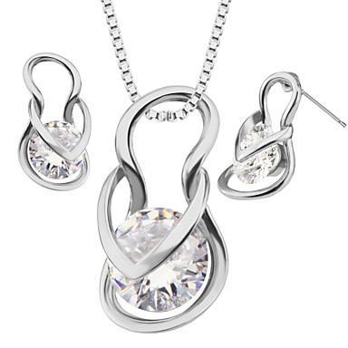 Buy Shoes Luxury Crystal Pendants Necklaces Earrings jewelry Set Women 18K Gold Plated Fashion Jewelry box gift S20117