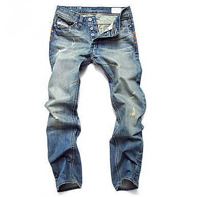 Men's Mid Rise Jeans Pants,Simple Straight Loose Solid