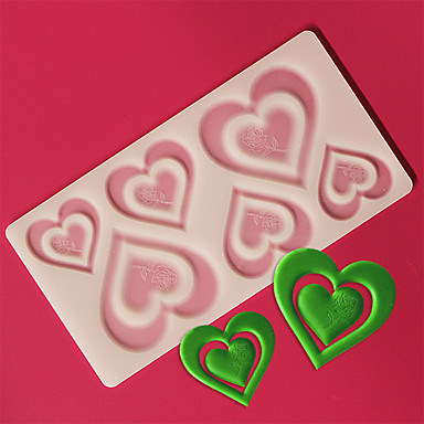 Buy 6 Pair Assorted Sized Love Heart Shape Chocolate Plugin Mold Cake Decoration Baking Silicone Material