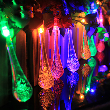 4 8M 20 LED Raindrop Solar Powered Outdoor String Lights