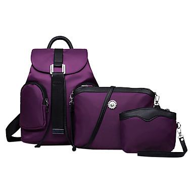 Women Nylon Bucket Backpack / School Bag / Travel Bag - Purple / Blue / Red / Black
