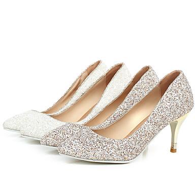Women's Spring / Summer / Fall / Winter Pointed Toe Glitter Dress Stiletto Heel White / Gold