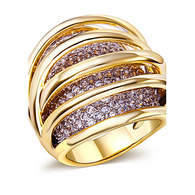 Buy Ring,Gold Plated AAA Cubic Zirconia Oval Fashion Wedding / Party Daily Casual N/A Jewelry Copper Gold