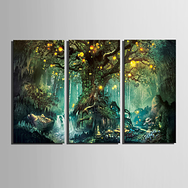 Toile tendue led paysage modern style europ en trois panneaux toile vertica - Decoration murale led ...