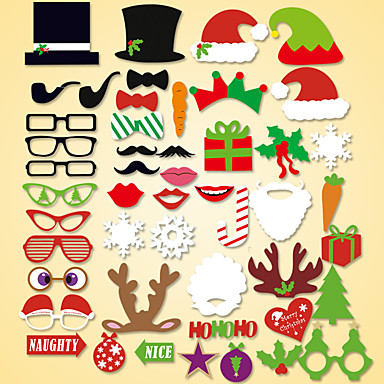 50 Pcs Party Photo Booth Props Holiday Decorations Party MasksCool For Christmas
