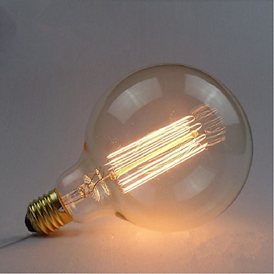 E27 40w G125 Straight Wire Large Bulb Edison Retro