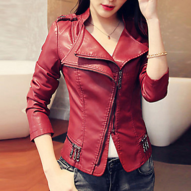 Women's Solid Red / Black Jackets , Casual / Plus Sizes Stand Long Sleeve