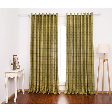 Two Panels Curtain Modern Plaid Check Living Room Poly 5322198 2016