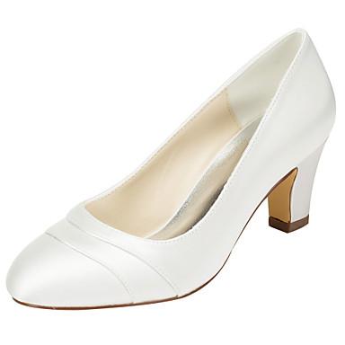 Ivory Wedding Shoes Chunky Heel